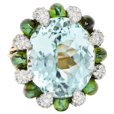 Paraiba Type Tourmaline Green Tourmaline Diamond Platinum 18 Karat Gold Cluster Ring AGL