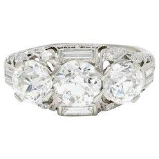 Late Edwardian 3.75 CTW Diamond Platinum Three Stone Band Ring GIA