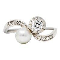 1920's Art Deco Diamond Pearl Platinum Toi Et Moi Bypass Ring
