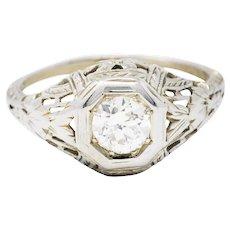 1920's Art Deco Diamond 18 Karat White Gold Blossom Engagement Ring
