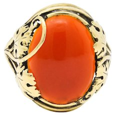 Arts & Crafts Carnelian Cabochon 18 Karat Gold Foliate Ring