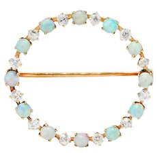 Vintage Opal 0.75 CTW Diamond 14 Karat Gold Circle Brooch
