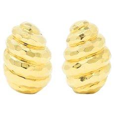 Henry Dunay Vintage 18 Karat Yellow Gold Cynnabar Ear-Clip Earrings
