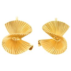Tiffany & Co. Retro 18 Karat Gold Twisting Ear-Clip Earrings