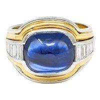 Vintage 10.00 CTW Sapphire Diamond 18 Karat Two-Tone Men's Unisex Gemstone Ring