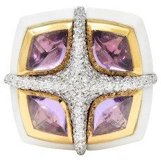 Valente Milano Diamond Amethyst Agate 18 Karat Gold Statement Ring