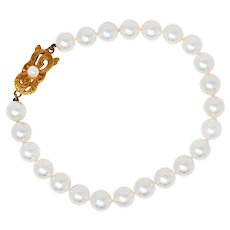 Mikimoto Cultured Pearl 18 Karat Gold Strand Bracelet