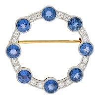 Edwardian 2.75 CTW Sapphire Diamond Platinum-Topped 14 Karat Gold Circular Brooch