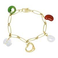 Elsa Peretti Tiffany & Co. Jade Agate Rock Crystal 18 Karat Gold Five Charm Icon Bracelet
