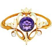 Whiteside & Blank Art Nouveau Amethyst Enamel 14 Karat Gold Brooch