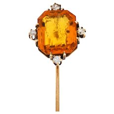 Victorian Glass Intaglio 14 Karat Gold Hellenistic Stickpin