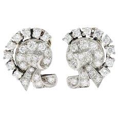 1950's Mid-Century 1.15 CTW Diamond Platinum Ribboned Ear-Clip Earrings