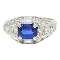 Art Deco 2.24 CTW No Heat Madagascar Sapphire Diamond Platinum Scalloped Ring