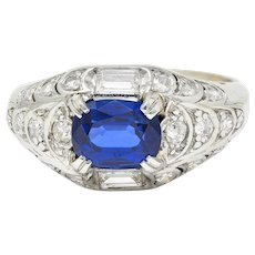 Art Deco 2.24 CTW No Heat Madagascar Sapphire Diamond Platinum Scalloped Ring GIA
