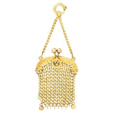 1880's Victorian 18 Karat Gold Miniature Chatelaine Mesh Purse Charm