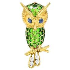 1960's Peter Lindeman Sapphire Diamond Enamel 18 Karat Owl Brooch