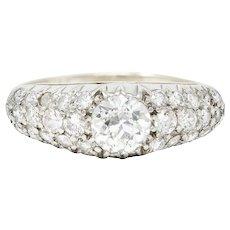 Karlan & Bleicher Mid-Century 1.70 CTW Diamond 14 Karat White Gold Pave Band Ring