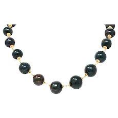 Vintage Bloodstone 14 Karat Gold Beaded Strand Necklace