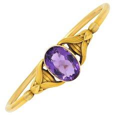 Sloan & Co. Amethyst 14 Karat Gold Egyptian Revival Bangle Bracelet