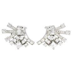 1950's Mid-Century 6.40 CTW Diamond Platinum Firework Ear-Clip Earrings