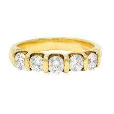 1980's Vintage 1.00 CTW Diamond 18 Karat Gold Bar Set Band Ring