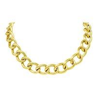 Elizabeth Locke Sapphire 18 Karat Gold Substantial Curb Link Chain Collar Necklace