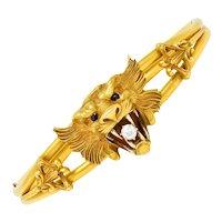 Art Nouveau Garnet Diamond 14 Karat Gold Unisex Lion Bangle Bracelet