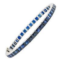 Art Deco 14.00 CTW French Cut Sapphire Platinum Line Bracelet