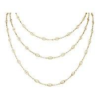 Victorian 14 Karat Gold 62 Inch Filigree Long Chain Necklace