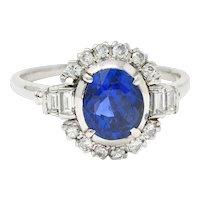 Late Art Deco 2.42 CTW No Heat Burma Sapphire Diamond Platinum Cluster Ring