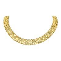 Robert Coin 1.50 CTW Diamond 18 Karat Gold Petals Collar Necklace