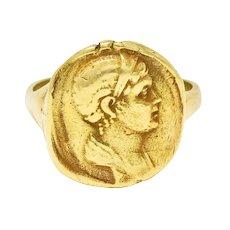 Kieselstein Cord Vintage 18 Karat Gold Severus Alexander Ancient Coin Ring