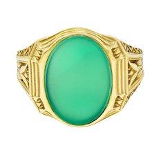 Art Deco Egyptian Revival Chrysoprase 14 Karat Gold Lotus Unisex Signet Ring