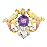 Whiteside & Blank Amethyst Pearl Diamond Enamel Platinum-Topped 14 Karat Gold Pendant Brooch