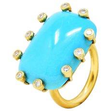 Modernist Turquoise Cabochon 0.30 CTW Diamond 18 Karat Gold Ring