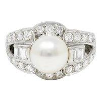 South Sea Pearl 1.40 CTW Diamond 18 Karat White Gold Cocktail Ring