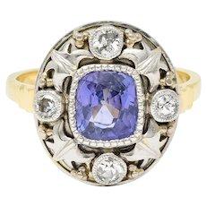 Arts & Crafts No Heat Ceylon Purple Sapphire Diamond Platinum-Topped 14 Karat Gold Ring
