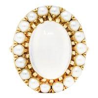 1940's Retro Moonstone Pearl 14 Karat Gold Cluster Cabochon Ring