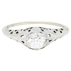 Art Deco 0.52 CTW Diamond 18 Karat White Gold Trellis Engagement Ring