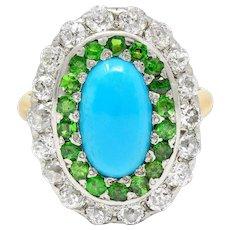 Edwardian Turquoise Diamond Demantoid Garnet Platinum-Topped Cluster Ring