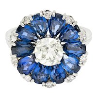 1950's Mid-Century 6.75 CTW Sapphire Diamond Platinum Flower Ring