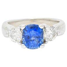 Contemporary 2.62 CTW Sapphire Diamond 14 Karat White Gold Ring
