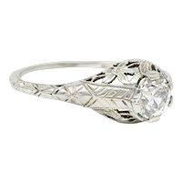 Art Deco 0.81 CTW Diamond 18 Karat White Gold Floral Engagement Ring GIA