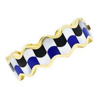 Angela Cummings Tiffany & Co. Inlaid Onyx Lapis Mother-Of-Pearl 18 Karat Gold Wave Bangle Bracelet