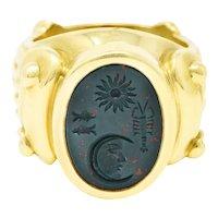 Kieselstein-Cord Bloodstone Intaglio 18 Karat Gold Signet Ring