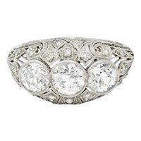 Art Deco 2.12 CTW Diamond Platinum Three Stone Bombe Band Ring
