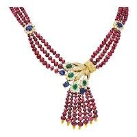 Vintage Ruby Sapphire Emerald Diamond 18 Karat Gold Beaded Swag Necklace