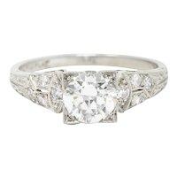 1950's Mid-Century 1.00 CTW Diamond Platinum Square Form Engagement Ring