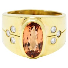 1970's Vintage Imperial Topaz Diamond 18 Karat Gold Band Ring