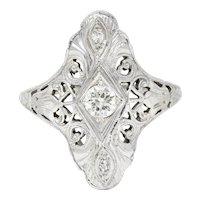 1920's Art Deco 0.30 Carat Diamond 18 Karat White Gold Lotus Dinner Ring